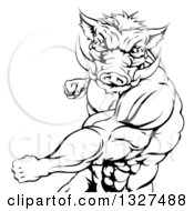 Clipart Of A Black And White Muscular Fighting Boar Man Punching Royalty Free Vector Illustration