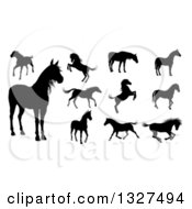 Clipart Of Black Silhouetted Horses 2 Royalty Free Vector Illustration