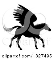 Clipart Of A Black Silhouetted Trotting Winged Pegasus Horse Royalty Free Vector Illustration by AtStockIllustration