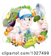 Clipart Of A Young Brunette White Male Gardener In Blue Holding Up A Shovel And Giving A Thumb Up In A Wreath Of Produce Royalty Free Vector Illustration