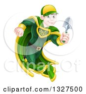 Clipart Of A Brunette Caucasian Male Super Hero Running With A Garden Trowel Royalty Free Vector Illustration
