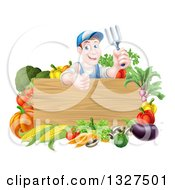 Clipart Of A Middle Aged Brunette White Male Gardener In Blue Holding Up A Garden Fork And Giving A Thumb Up Over A Blank Wood Sign With Produce Royalty Free Vector Illustration