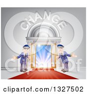 Clipart Of Welcoming Door Men At An Entry With A Red Carpet Under Change Text Royalty Free Vector Illustration by AtStockIllustration