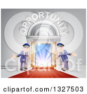 Clipart Of Welcoming Door Men At An Entry With A Red Carpet Under Opportunity Text Royalty Free Vector Illustration by AtStockIllustration