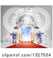 Clipart Of Welcoming Door Men At An Entry With A Red Carpet Under Perfect Job Text Royalty Free Vector Illustration by AtStockIllustration