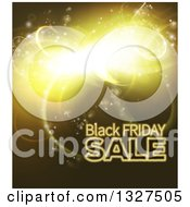 Clipart Of A Black Friday Sale Background With Gold Lights Royalty Free Vector Illustration by AtStockIllustration