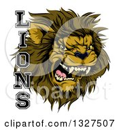 Clipart Of A Aggressive Male Lion Roaring Mascot And Text Royalty Free Vector Illustration