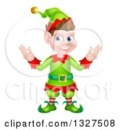 Clipart Of A Welcoming Young Brunette White Male Christmas Elf Royalty Free Vector Illustration by AtStockIllustration