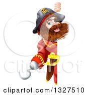 Clipart Of A Happy Male Pirate Captain Gesturing With A Hook Hand And Looking Around A Sign Royalty Free Vector Illustration