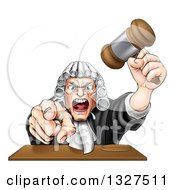 Cartoon Fierce Angry White Male Judge Spitting Holding A Gavel And Pointing At The Viewer