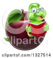 Cartoon Happy Green Graduate Book Worm Reading And Emerging From A Red Apple