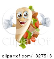 Clipart Of A Cartoon Souvlaki Kebab Sandwich Mascot Giving Two Thumbs Up Royalty Free Vector Illustration