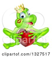 Clipart Of A Cartoon Happy Green Frog Prince With A Liptstick Kiss On His Cheek Holding A Red Glass Love Heart Royalty Free Vector Illustration