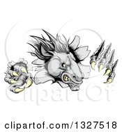 Clipart Of A Vicious Gray Horse Stallion Monster Breaking Through A Wall With Claws Royalty Free Vector Illustration