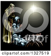 Clipart Of A Nativity Scene Of The Star Praying Joseph And Mary And Baby Jesus Royalty Free Vector Illustration by AtStockIllustration