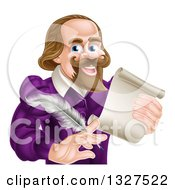 Clipart Of A Cartoon Happy William Shakespeare Holding A Scroll And Feather Quill From Waist Up Royalty Free Vector Illustration by AtStockIllustration
