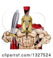 Clipart Of A Shirtless Muscular Gladiator Gladiator Man In A Helmet Holding Out A Sword From The Waist Up Royalty Free Vector Illustration