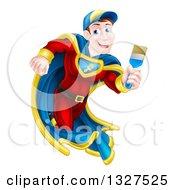 Poster, Art Print Of Brunette Caucasian Male Super Hero Painter Running With A Brush