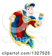 Clipart Of A Brunette Caucasian Male Super Hero Painter Running With A Brush Royalty Free Vector Illustration by AtStockIllustration