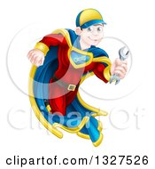 Clipart Of A Brunette Caucasian Male Super Hero Mechanic Running With A Wrench Royalty Free Vector Illustration