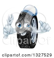 Clipart Of A Happy Tire Character Wearing A Baseball Cap Giving A Thumb Up And Holding A Wrench 2 Royalty Free Vector Illustration