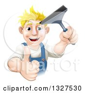 Happy Blond Caucasian Window Cleaner Man Holding A Squeegee And Giving A Thumb Up