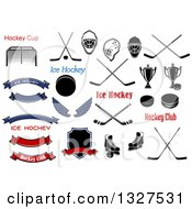 Clipart Of Ice Hockey Accessories Royalty Free Vector Illustration