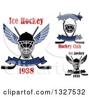Clipart Of Ice Hockey Masks And Sticks With Text Royalty Free Vector Illustration