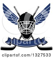 Clipart Of A Winged Ice Hockey Mask Over Crossed Sticks And A Blank Blue Banner Royalty Free Vector Illustration by Vector Tradition SM