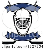 Clipart Of An Ice Hockey Mask Over Crossed Sticks With Blank Blue Banners Royalty Free Vector Illustration by Vector Tradition SM