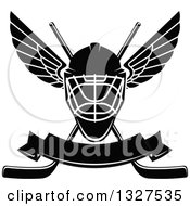 Clipart Of A Black And White Winged Ice Hockey Mask Over Crossed Sticks And A Blank Banner Royalty Free Vector Illustration by Vector Tradition SM
