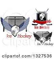 Clipart Of Ice Hockey Masks Sticks Shields And Goals With Text Royalty Free Vector Illustration