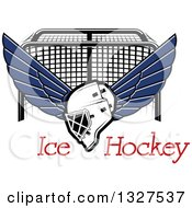 Clipart Of A Winged Ice Hockey Mask Over Text And A Goal Royalty Free Vector Illustration