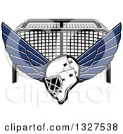 Clipart Of A Winged Ice Hockey Mask Over A Goal Royalty Free Vector Illustration