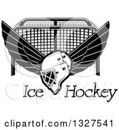 Clipart Of A Black And White Winged Ice Hockey Mask Over Text And A Goal Royalty Free Vector Illustration