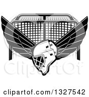 Clipart Of A Black And White Winged Ice Hockey Mask Over A Goal Royalty Free Vector Illustration