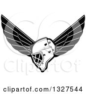 Clipart Of A Black And White Winged Ice Hockey Mask Royalty Free Vector Illustration