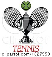 Clipart Of Crossed Tennis Rackets With A Ball And Trophy Over Text Royalty Free Vector Illustration