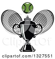 Clipart Of Crossed Tennis Rackets With A Ball And Trophy Royalty Free Vector Illustration