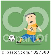 Clipart Of A Flat Design White Male Soccer Player In Action Over Green Royalty Free Vector Illustration by Vector Tradition SM