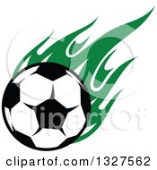 Soccer Ball With Green Flames
