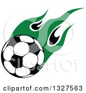Soccer Ball With Green Flames 2