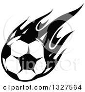 Black And White Soccer Ball With Flames