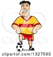Cartoon Grinning Soccer Player Resting A Foot On A Ball