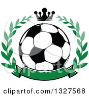 Soccer Ball In A Laurel Wreath With A Crown And Blank Green Banner
