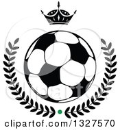 Black And White Crown Over A Soccer Ball And Laurel Wreath With A Green Dot