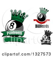 Clipart Of Billiards Pool Eight Balls With Crowns Text And Banners Royalty Free Vector Illustration