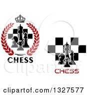 Clipart Of Chess Piece And Checkers Designs With Text Royalty Free Vector Illustration