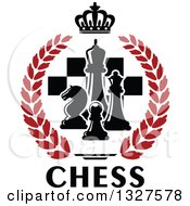Clipart Of Black And White Chess Pieces Over Checkers In A Crown And Red Laurel Wreath Over Text Royalty Free Vector Illustration