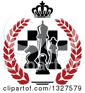 Clipart Of Black And White Chess Pieces Over Checkers In A Crown And Red Laurel Wreath Royalty Free Vector Illustration